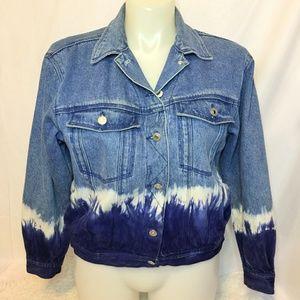 90's Vintage Oversized Tie Dye Jean Jacket
